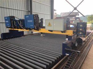 Dobbelt drev Gantry CNC Plasmaskæremaskine til skæring af massivt stål H Beam produktionslinje